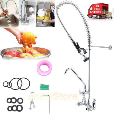 "Commercial Kitchen w/12""Add-On Faucet Wall Mounted Pre-Rinse Stainless Steel New"