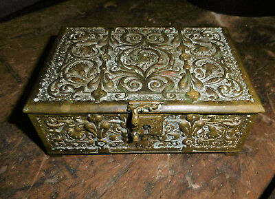 Antique Erhard & Sohne Art Nouveau Cigar Tobacco Bronze Brass Ornate Footed Box