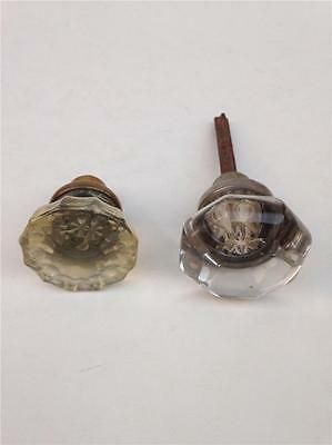 Lot of 2 Antique Art Deco Clear Cut Glass Doorknobs
