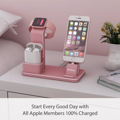 3 in 1 iPhone and Apple Watch charging Dock Stand Holder Black/Silver For iWatch