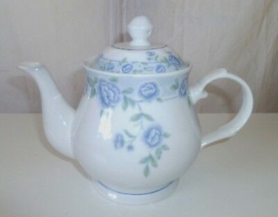 WHITE JADE PORCELAIN Microwave safe White & Blue Teapot by Cheng's