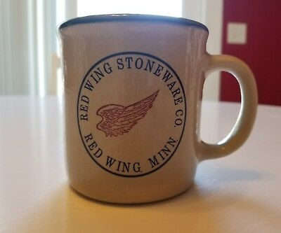 Red Wing Stoneware Co Pottery coffee mug cup blue red Red Wing MN GUC