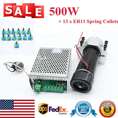 Air Cooling CNC Spindle Motor Speed Governor w/ 13x ER11 Spring Collets 500W 4A