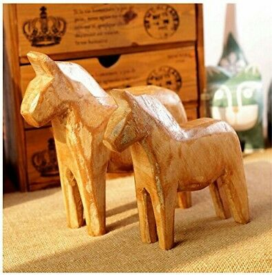 Farmhouse Minimalist Swedish Decor Set of 2 Unfinished Wooden Horse Statues