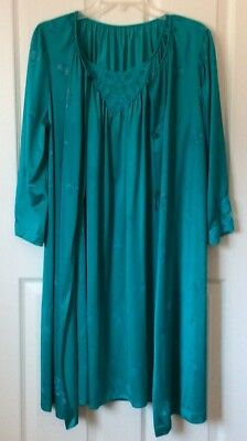 Vintage LORRAINE Gown And Robe Set, Teal With Floral Design, Size Medium, USA