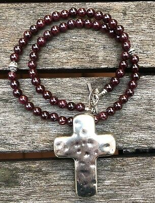 ॐCrystal Blissॐ Garnet Chakra Yoga Reiki Healing Necklace w Cross Pendant