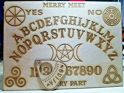 """Wooden Ouija Board & Planchette w/ Wiccan Symbols Engraved On Wood [11""""x7""""]"""