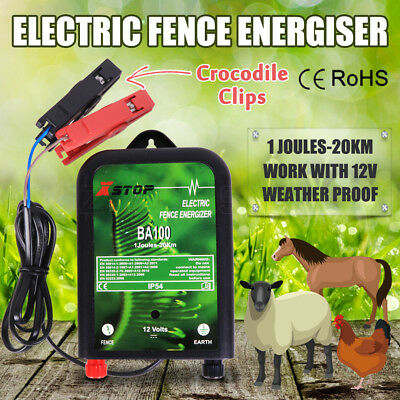 20km 12V Range Power Electric Fence Energiser Charger Poly Wire Tape Posts 1J OZ