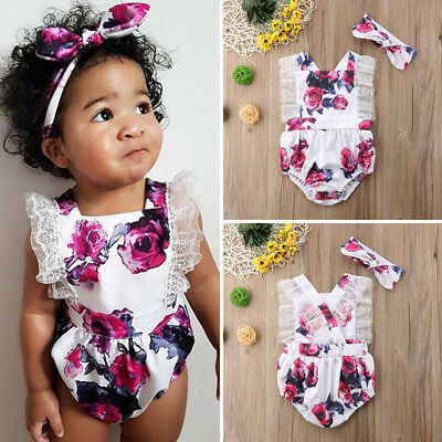 USA Newborn Toddler Baby Girl Clothes Lace Floral Romper Bodysuit Outfits 2Pcs