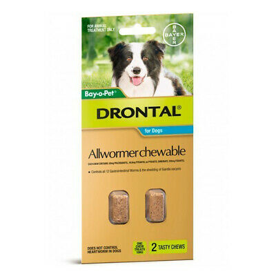 Bayer Drontal All Wormer 2 Tasty Chewable Tablets For Small Dogs And Puppies