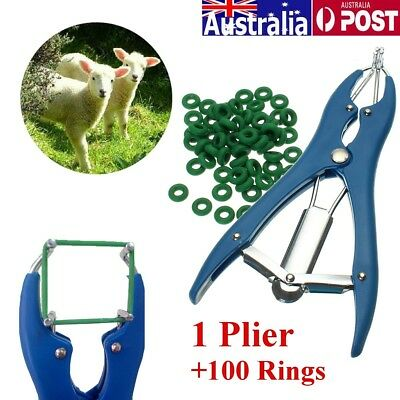 Cattle Sheep Castrator Tail Docking Applicator Plier & 100 Ring for Farm Marking