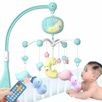 New Baby Musical Crib Bed Cot Mobile Stars Dreams Light Flash Nusery Lullaby Toy