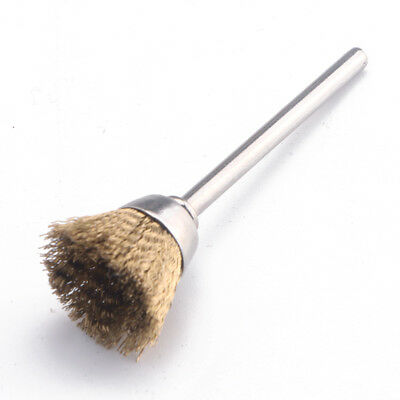 3mm Shank Polishing Brass Wire Wheel Cup Brushes For Dremel Rotary Cleaning Tool