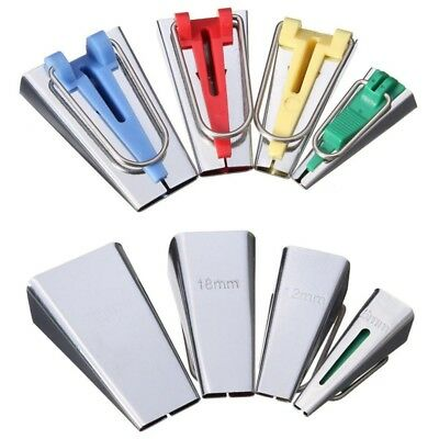 Fabric Bias Tape Maker Tool Sewing Quilting Set of 4 Size 6mm 12mm 18mm 25mm Set
