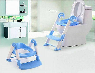 Foldable Baby Potty Toilet Trainer Ladder Training Seat Step Kids Toddler Blue