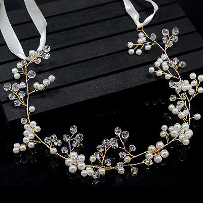 Women Wedding Accessories Handmade Pearl Crystal Headband Hair Headdress Jewelry