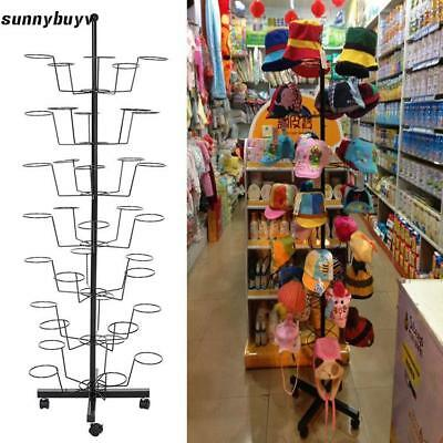Portable Hat Cap Retail Floor Display Hat Rack Tall Holds Stand 35 Hats