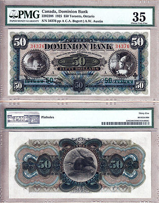 Condition Rarity PMG CH VF35 Highest 3rd Party Graded 1925 $50 The Dominion Bank