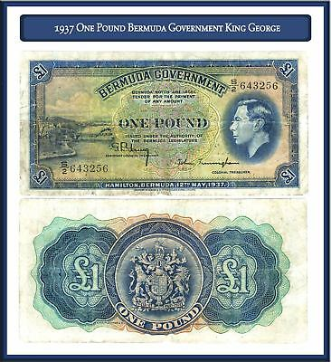 Nice 1937 One Pound Bermuda Government King George Note