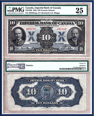 1923 $10 Imperial Bank of Canada Large Size.  PMG Certified VF25
