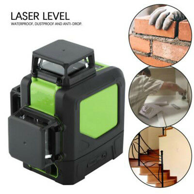 New Laser Level 12 Line Green Self Leveling 3D 360° Rotary Cross Measure Tool US