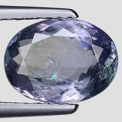 2.11Cts RARE UNHEATED WHITE BLUE GREEN NATURAL TANZANITE OVAL CUT LOOSE GEMSTONE