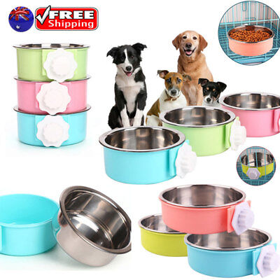 Pet Dog Cat Bowl Can Hang Stationary Cage Bowl Stainless Steel Hanging Bowl