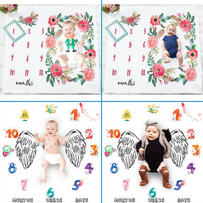 Newborn Baby Number Angel Wing Monthly Milestone Blanket Photography Prop Shoot