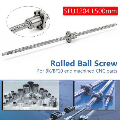 SFU1204 L500mm Ball Screw C7 + 1204 Single Ballnut For BK/BF10 CNC End Machined