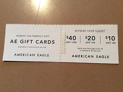 AE American Eagle Coupons $10 off $40, $20 off $75 or $40 off $150 Exp. 5.23.18