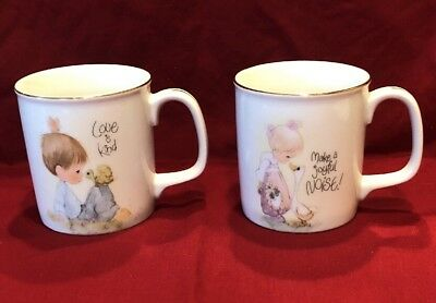 Coffee Cups precious moments  1984 enesco lot of two