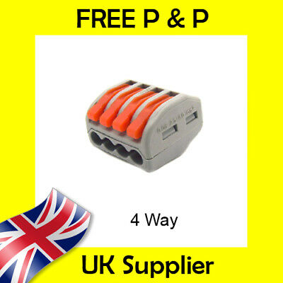 4 Way Electrical Connectors Wire Block Terminal Cable Reusable like Wago 222-414