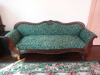Antique Couch Late 1800's Empire Style Walnut Trim Located in SW Ohio