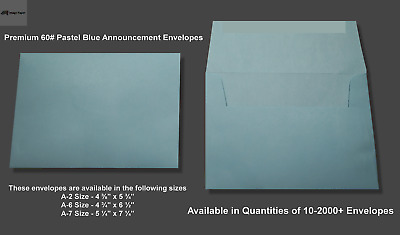 A2▪A6▪A7 60# Premium Blue Announcement Envelopes - Various Quantities