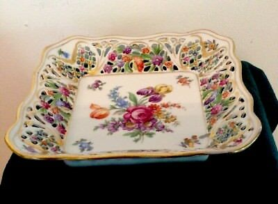 Schumann Chateau Dresden Germany Flowers Reticulated Square Bowl 7 1/2