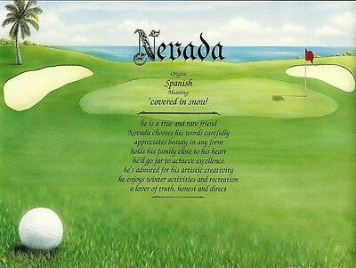 Personalized Name Meaning Sports Keepsake Ready to Frame Gift - Golf