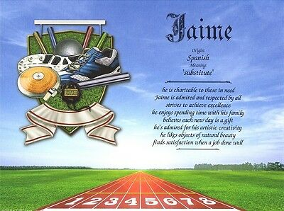 """""""SportsTrack & Field"""" Personalized Name Meaning Ready to Frame Print Gift"""
