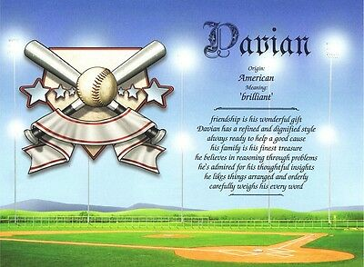 """""""Sports Baseball"""" Personalized Name Meaning Birthday Graduation"""