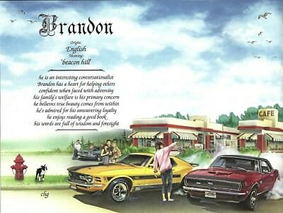 """""""Muscle Cars"""" Name Meaning Personalized Birthday Print - Sports, Transportation"""