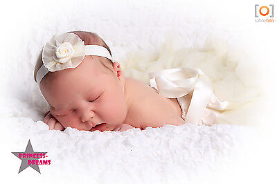 Princess-Dreams Baby Mädchen Haarband Blume creme/ivory Fotoshooting Fotografie