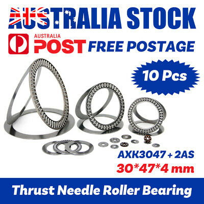 10pcs AXK3047+2AS Needle Roller Thrust Bearing 30*47*4mm With Two Washers Each