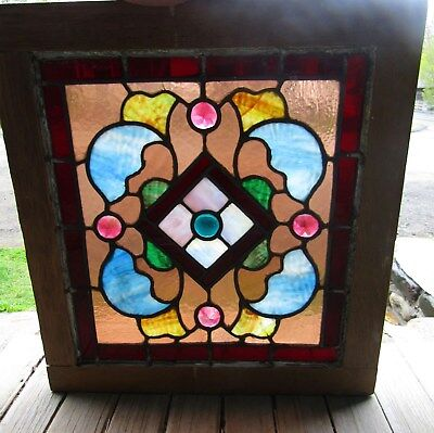 Small Square Antique Stained Glass Window