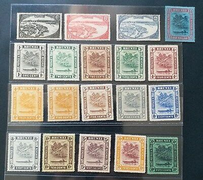 BRUNEI 1924 1c to $1 SG 60 - 78 Sc 43 - 61 river view set 19 MLH/MH