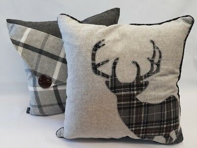 Silver Grey Tartan Check Stag And Button Wool Luxury Cushion Cover £11.95 A Pair