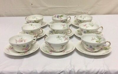 VTG Theodore Haviland Limoges - 9 Place Setting France Fine China Cup Saucer Lot