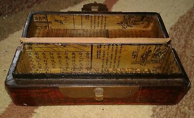 Chinese Wood Lacquer Chest Box Painted Handmade Brass Antique