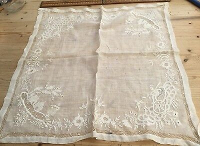 An Antique Lace Embroidered Handkerchief, Interesting Motifs