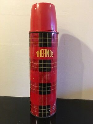 Vintage Large Scottish Tartan Red and Black Metal Thermos