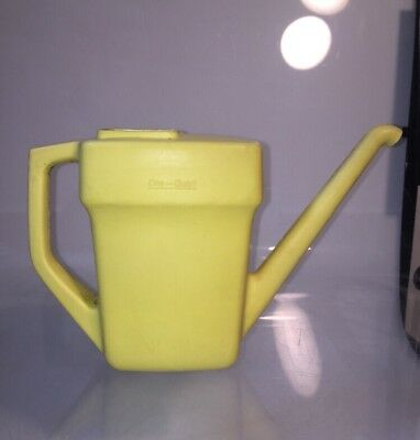 Vintage Plastic Watering Can Retro Yellow One Quart