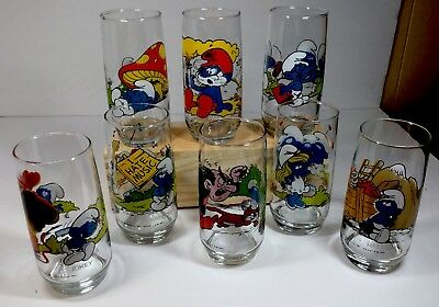 Set Of 8 1982 Collectable Smurf Glasses.  Excellent Condition
